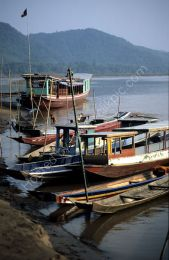 Fishing boats on the Mekong, Laos