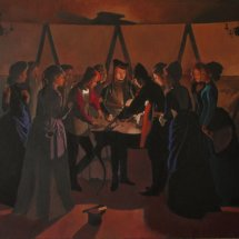 Scene from The Promise of the Voyage (1889) in which The Dice Players by Georges de la Tour is accidentally recreated