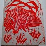 Hedgehog Pine Cone (Red), cream card 240 gsm