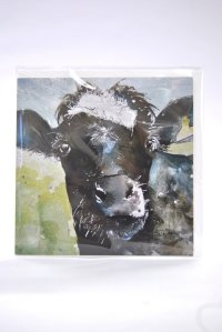 Nosy Cow greetings card (square)