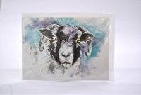 Black faced ewe greetings card