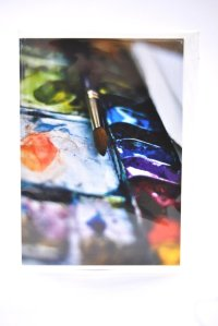 Paintbrush and palette greetings card