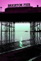 Brighton Pier pink sky