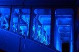 Blue lit Southwark Bridge close up