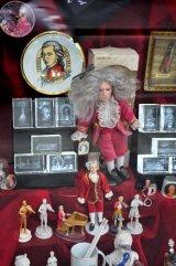 Mozart memorabilia in shop window, Vienna