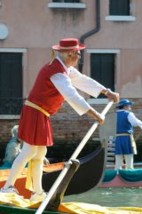 red and white gondolier