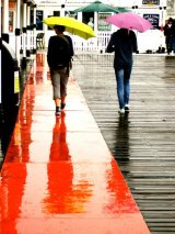red path and umbrellas