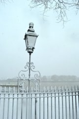 lamp covered in snow, Greenwich