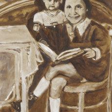 """ Evi Aged 5""; 36 x 61 cm; Oil on found hardboard"