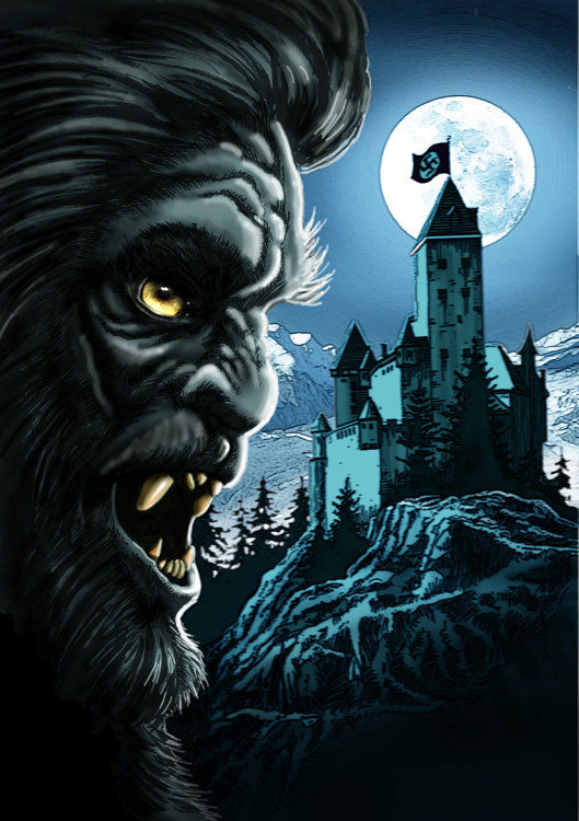 graphic novel sketch - werewolf and castle