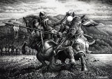 Robert the Bruce and Henry de Bohun ink sketch