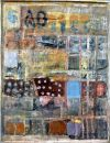 'Rainy Day on the Avenue' (mixed media on board) 2010 58cm x 75cm