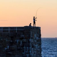 Fishing at sunset, Jersey