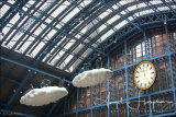St Pancras Station with Clouds Sculpture