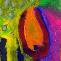 tulip, mixed media, oil pastel