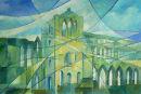 Sunshine and the speed of crows, Reivaulx Abbey. Acrylic