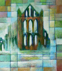 Sea Fret Swirling-Whitby Abbey. Acrylic