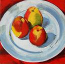 Still Life three apples I (green ground)
