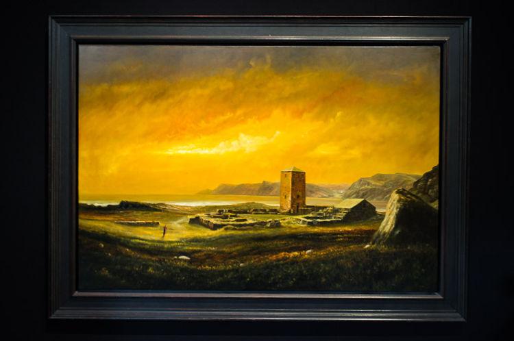 The monastery of Selja, golden sky