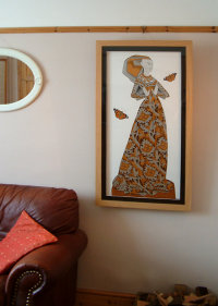 The Lace Lady with Painted Lady Butterflies. (Framed)