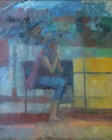 Woman in cafe, morning. Oil on canvas, framed 65 x 64cm