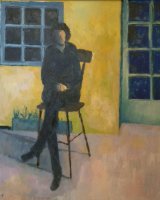 Woman on terrace - Oil on board - 70 x 60 cms