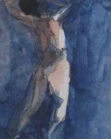 Japanese dancer - Watercolour  26 x 25 cm Framed