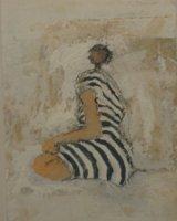 Striped figure - Framed 27 x 22cm Mixed media