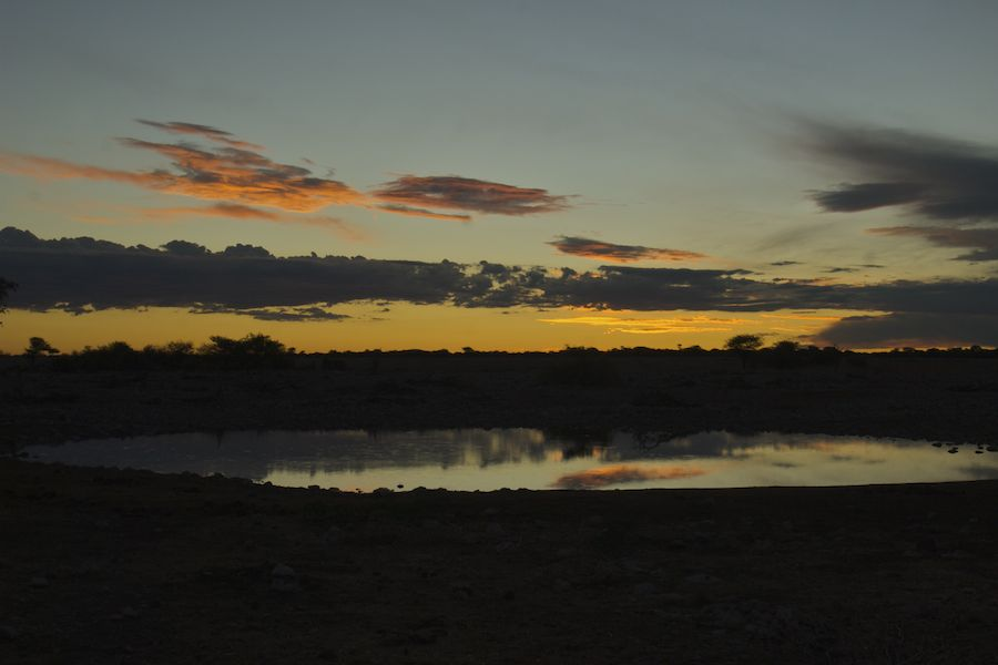 Waterhole at night, Etosha, Namibia