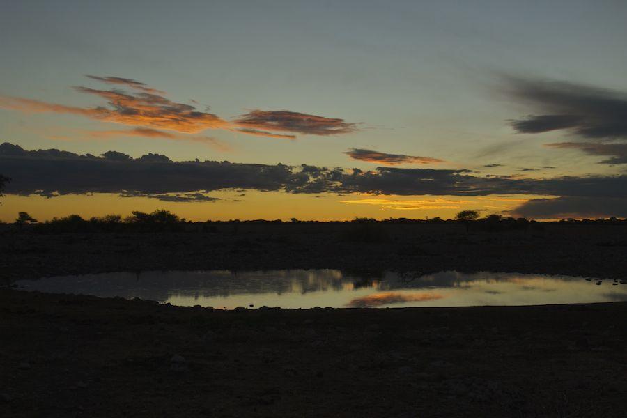Waterhole at night, Etosha, Namibia