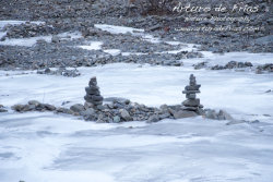 Frozen Rivers with small Budhist 'chortens'