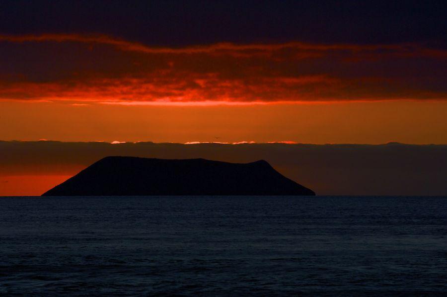 Volcano at sunset, Galapagos