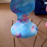 abstract art chair 'Sky Blue Pink'
