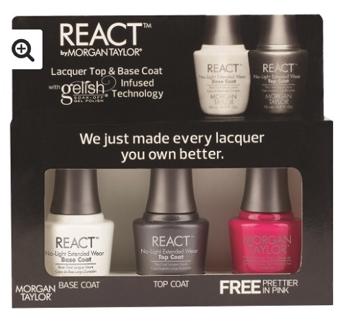Morgan Taylor React Top & Base Coat Set with free Colour Prettier in Pink €28