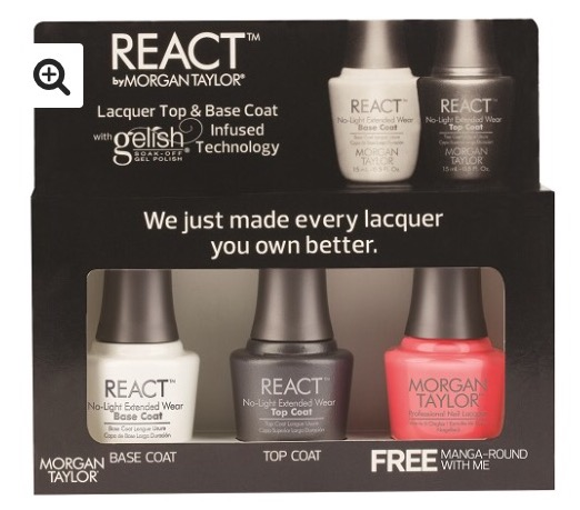 Morgan Taylor React Top & Base Coat Set with Free Colour Manga Round with Me €28