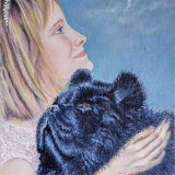 Woman and Chow Chow SOLD