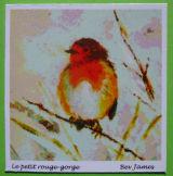 Light green robin card