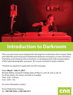 Introduction to Darkroom PPD Flyer