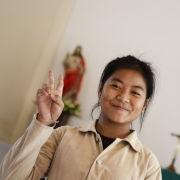 Girl in Catholic Church, Savannakhet, Laos