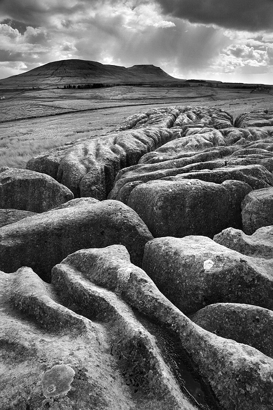 Middle Scar and Ingleborough - mono