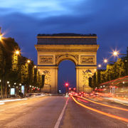 Arc De Triomphe and light trails