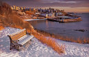 Crail harbour in winter