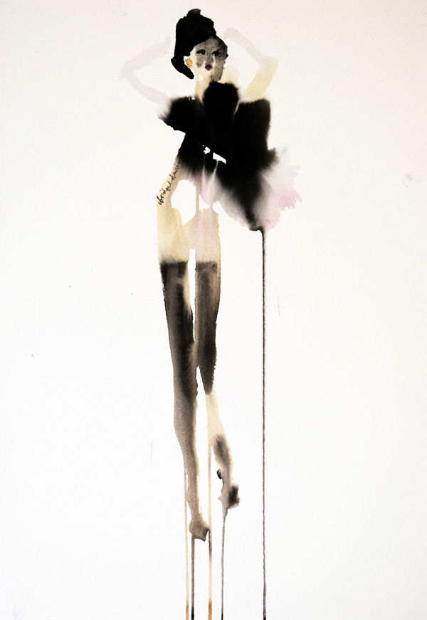 Nude with Feather Boa - <span style=