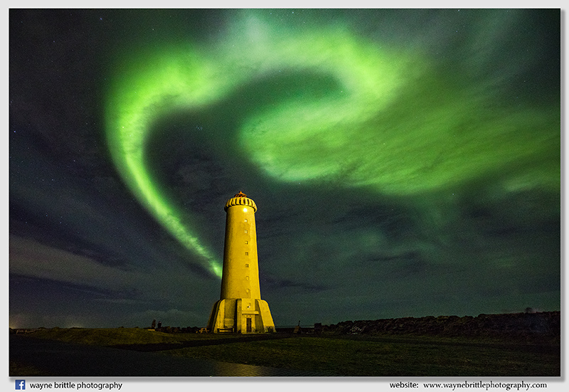 Aurora at Akranes Lighthouse - Western Iceland