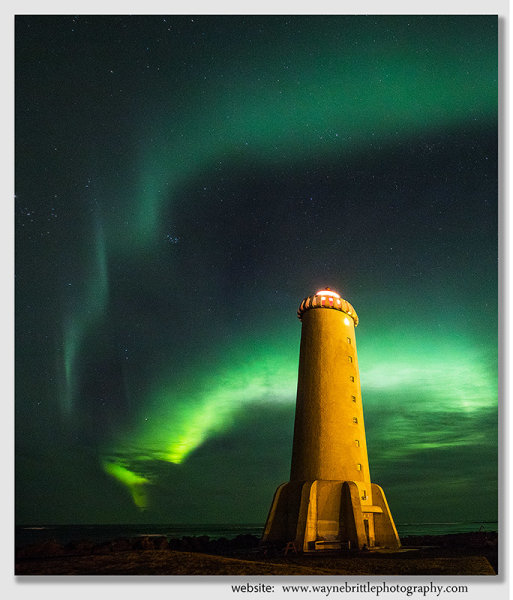 Aurora at Akranes Lighthouse 2 - Western Iceland