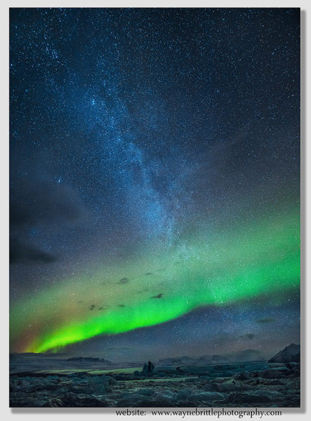 The Aurora and the Milky Way over Jokulsarlon Glacier Lagoon