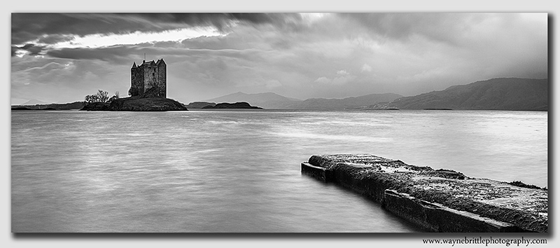 Castle Stalker - Black & White - Panorama