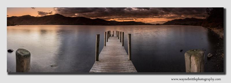Derwentwater Jetty at dusk - wide panorama - Cumbria