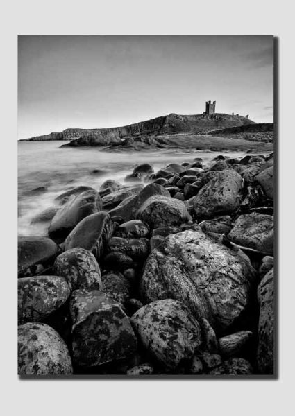 Dunstanburgh Castle First Light - B&W