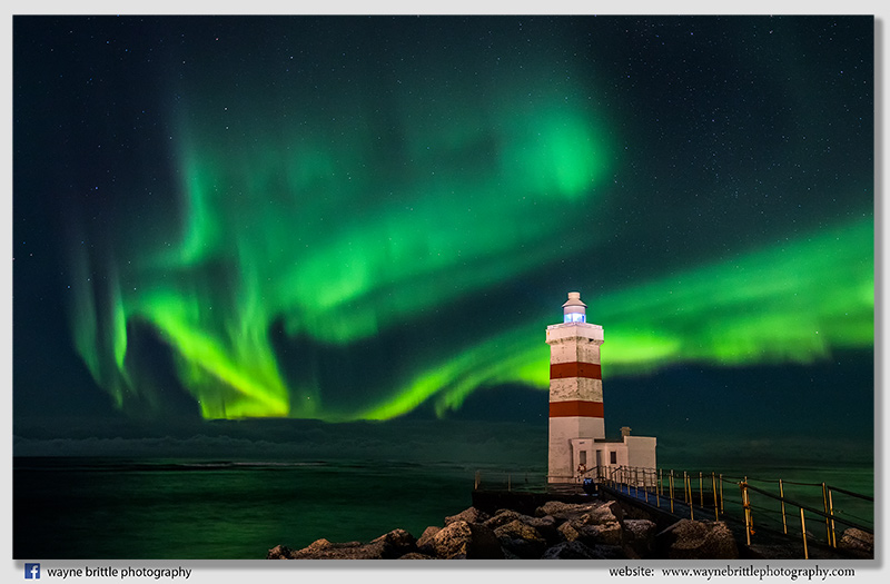 Gardur Lighthouse and the aurora 2